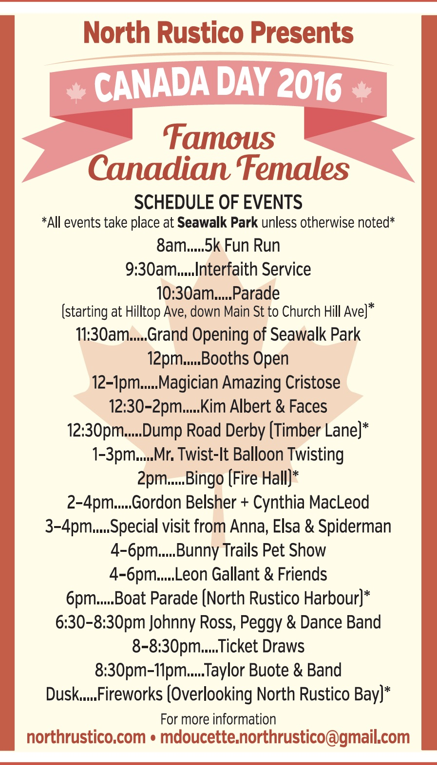 Canada Day Schedule Poster