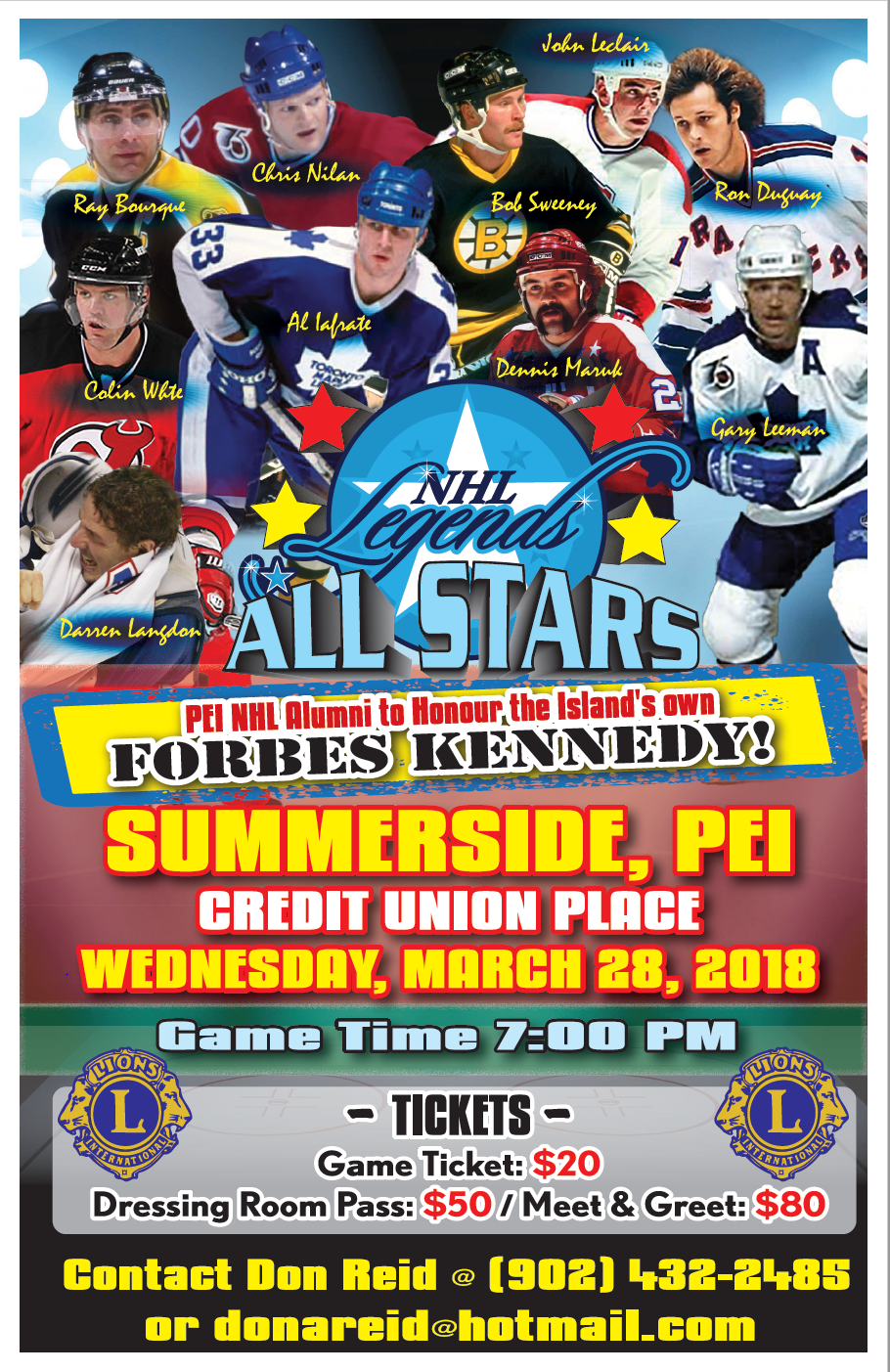 NHL Legends All Stars @ Credit Union Place | Summerside | Prince Edward Island | Canada