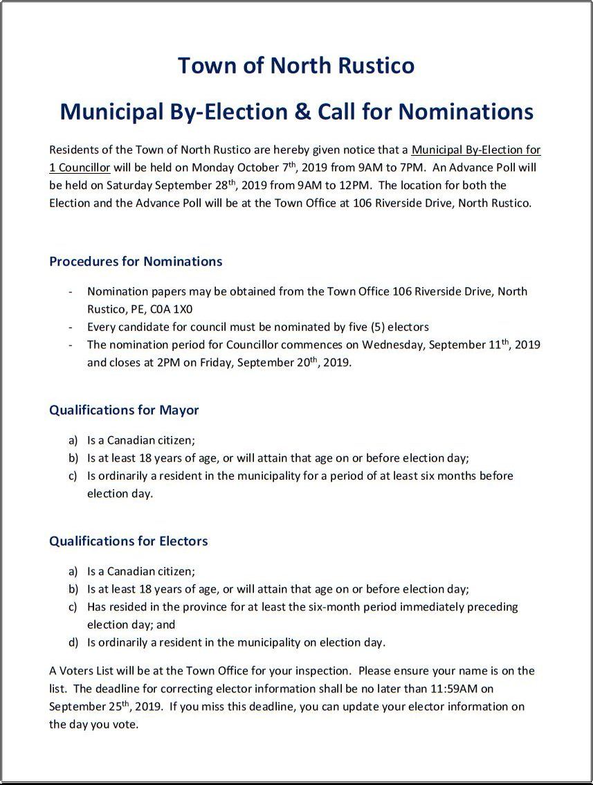 NOMINATION PERIOD - ELECTION FOR VACANT COUNCIL SEAT